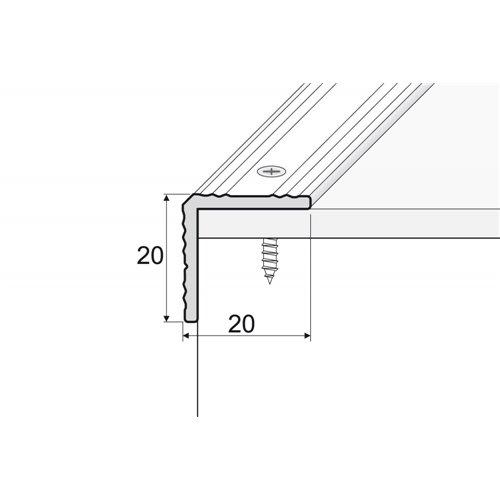 A35 20x20 mm kątownik aluminiowy schodowy