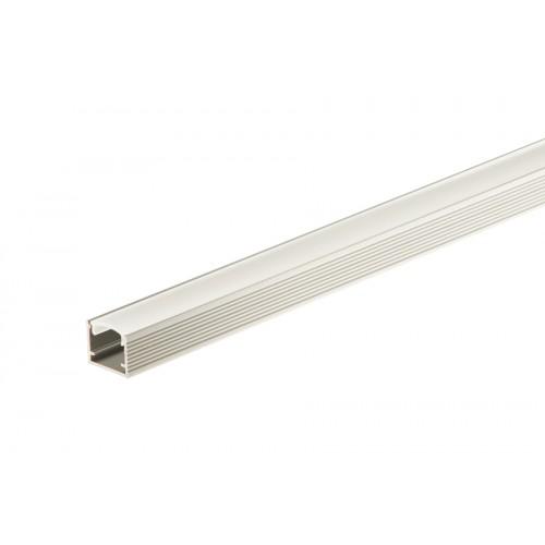 Profil aluminiowy do taśmy LED prosty z osłonką mleczną srebrny aluminium anoda 14x12 mm 1 m}