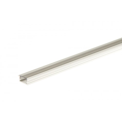 Profil aluminiowy do taśmy LED z kołnierzem z osłonką transparentną srebrny aluminium anoda 14x7 mm 1 m}