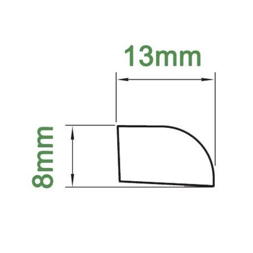 Ćwierćwałek 13X8mm PCV}