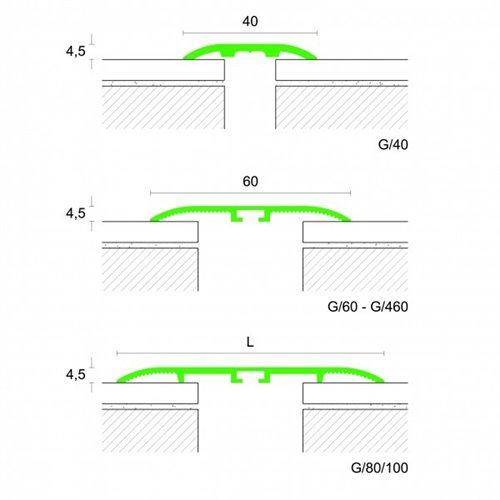 Profil łączący PROCOVER G ALUMINIUM samoprzylepny srebro - aluminium anodowane