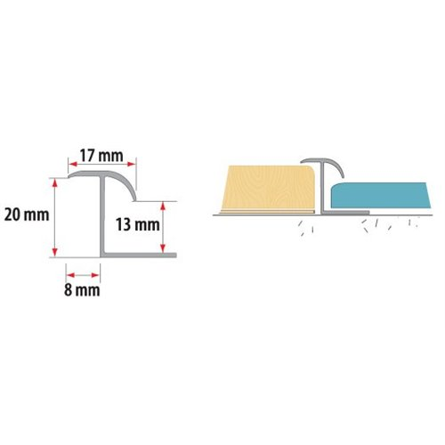 Teownik dylatacyjny do łączenia podłóg do wysokości 13-20mm