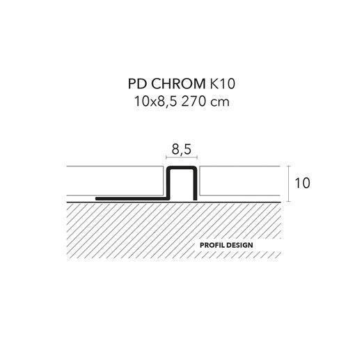 Listwa narożna kwadrat PD CHROM 8,5 mm
